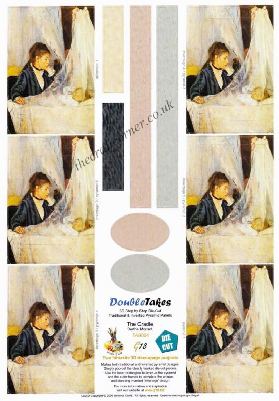 The Cradle Painted by Berthe Morisot Pyramid Die Cut 3d Decoupage Sheet